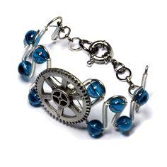 Steampunk Bracelet Silver Gear Dark Aqua Glass by CatherinetteRings.deviantart.com