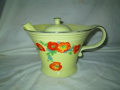 Vintage Hall Floral Pottery Tea Pot Wide Rim Orange by HankiePanky