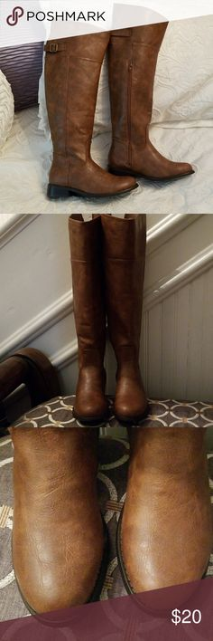 "Tall Breckelles brown riding boots, size 5.5, new. Brown over the knee (depending on how long your legs are) riding boots.  1"" stacked heel.  Approx 7"" across at top and 20"" tall.  Wish they were big enough to fit me!! Breckelles Shoes Over the Knee Boots"