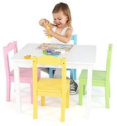 Kids Wood Table and 4 Chairs Set White Pastel Wood Collection New Free Shipping  | eBay