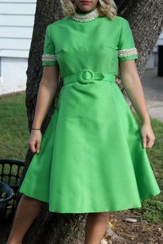 1960s Green Belted Dress with Cream Beaded Accents. $40.00, via Etsy.