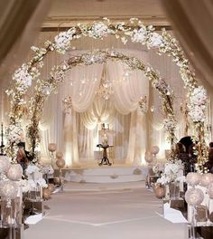 Lovely lights on the arches - venue decoration idea for your wedding ceremony