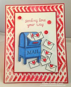Everyone loves mail!   This handmade card is sure to deliver smiles.  Lawn Fawn stamps create a bright blue mail box and the tiny heart-filled envelopes.  Chevron embossing for the border.  Handmade valentine card
