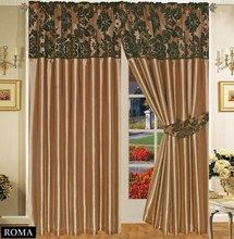 Half Flock with Plain Design Fully Lined Ready Made Pencil Pleat Curtains - Chocolate with Brown - RV Your Price: £19.99