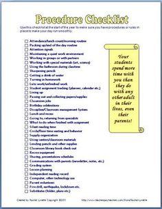 Procedure checklist for the beginning of school