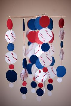 Baseball Nursery Decor Red White Blue Baby Crib Mobile But With Bats Up Top