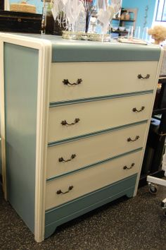 Beautiful Blue and Cream Waterfall Dresser from Marinus Home