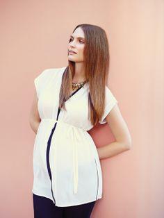 Colour block chiffon blouse by Melissa Nepton for Thyme Maternity :: Blouse en chiffon de la collection Melissa Nepton pour Thyme Maternité :: #THYMExMN