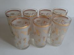 Vintage Libbey Set of 7 Frosted and Gold Highball Glasses with Cocktail Patterns