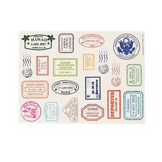 TO DECORATE SPECIAL AGENT KIT BOXES (skip the passport book idea!) Passport Stamp Sticker Sheets - OrientalTrading.com