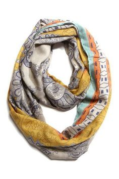 Tribal Print Infinity Scarf- Taupe