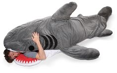 I love Shark Week ... and this shark sleeping bag. Chomp!