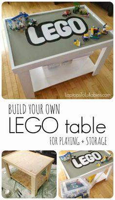 DIY Lego table for playing + storage [My Handmade Home by Heather Laura Clarke] #DIY #playtable #LEGO #toystorage