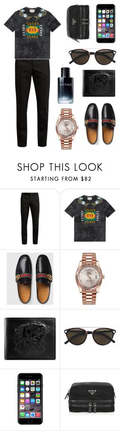 """""""Men style 😻😻"""" by fashiondam ❤ liked on Polyvore featuring Yves Saint Laurent, Gucci, Rolex, Christian Dior, Off-White, Prada, men's fashion and menswear"""