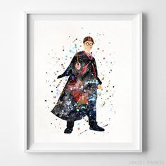 Harry Potter, Harry Potter Watercolor Wall Art Print. Prices from $9.95. Available at InkistPrints.com - #harrypotter #watercolor #harrypottertheme #harrypotterfan #homedecoration #walldecor