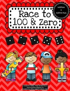 Day of School Math Activity Race to 100 & Race to Zero, Dice Game Subtraction Strategies, Dice Games, Math Stations, 100 Days Of School, Addition And Subtraction, 100th Day, Math Activities, The 100, Zero
