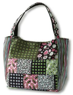 For a stylish, roomy bag choose small- and medium-scale prints for the front  and back and a playful stripe for the sides. Two pockets inside give you easy  access to your keys and cell phone. Project maker Vicki DeGraaf used paisleys  and prints from M'Liss's Expressions line for Jo-Ann Stores.