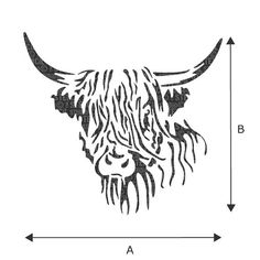 cow tattoo ideas - Hamish Highland Cow Stencil from The Stencil Studio Reusable home decor & DIY stencils, simple to use 10641 Highland Cow Tattoo, Highland Cow Art, Highland Cattle, Stencil Diy, Stencil Painting, Stencil Designs, Cow Drawing, Line Drawing, Diy Tattoo