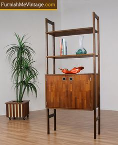 Danish Teak Modular Shelving with Record Storage