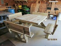 How To Build A Picnic Table With Attached Benches | Picnic Tables, Picnics  And Illustrations