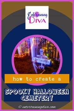 Great ideas for turning your front yard into a Halloween graveyard. Find out how to create a spooky yard haunt. #entertainingdiva #yardhaunt #halloweendecor #diyhalloween #halloween #halloweenoutdoordecor Diy Halloween Pillars, Diy Halloween Graveyard, Halloween Fence, Halloween Tombstones, Spooky Halloween Decorations, Halloween Haunted Houses, Outdoor Halloween, Creepy Halloween, Halloween Party Decor