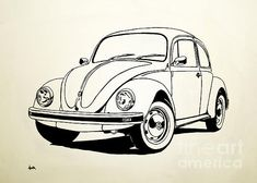 Vw Bug by Aaron Acker - Brent Gill designs - Auto Bugs Drawing, Beetle Drawing, Car Tattoos, Disney Cars Birthday, Truck Coloring Pages, Beetle Car, Vw Vintage, Car Sketch, Car Drawings