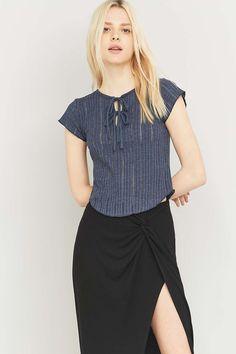 Kimchi Blue Sally Ribbed Knit Lace-Up T-shirt
