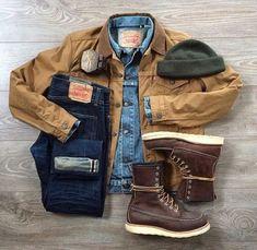 Rugged style inspiration with Levi dark wash denim redwing moc toe boots levi denim jacket green beanie tan duck coat Fashion Mode, Mens Fashion, Carhartt Jacket, Carhartt Wip, Casual Outfits, Men Casual, Men's Outfits, Style Masculin, Levi Denim Jacket