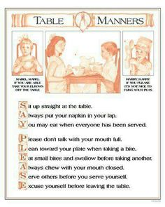 Parenting Etiquette Rules that Should Never be Broken Sue Keller: Mabels Manners. My mom would say the Mabel Mabel rhyme at the table all the time. Table Manners, Good Manners, Bentgo Kids, Vintage Modern, Dining Etiquette, Etiquette And Manners, Finishing School, Little Bit, Thinking Day