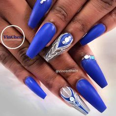Combo White Blue Hand Painted Nail Design ️Coffin Nails Ideas For Enchanting Look ️… - coffin #nails #nailscoffin #coffinnails