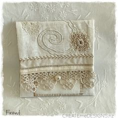 POUCH | Rich Cream by CREATEmeDESIGNS on Etsy Fabric Scraps, Little Gifts, Doilies, Gifts For Women, Craft Supplies, Pouch, Embroidery, Cream, Beads