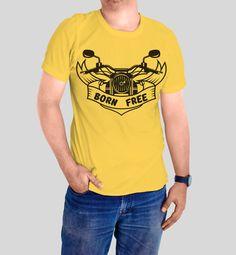Men tshirt Born Free shirt men clothing man by FunnyWhiteTshirt