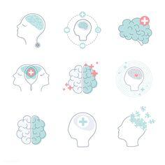 Brain and mental health icons vector set Free Vector - OFEK+ - Brain Icon, Icon Design, Logo Design, Design Design, Brain Logo, Health Icon, Medical Icon, Health Logo, Neurology