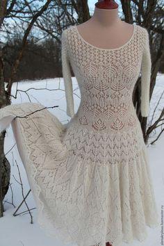 Платья ручной работы. Ажурное платье из мохера. Алёна Крылова. Интернет-магазин Ярмарка Мастеров. Пудровый цвет, фатиновая юбка
