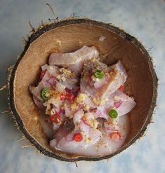 Kinilaw: Filipino bar food consisting of raw fish dressed in vinegar, citrus, ginger, onions, and chilies.
