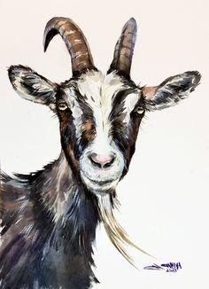 Goat faced portrait, goat art, farm animal portrait, goat decor ORIGINAL WATERCOLOR PAINTING by alisiasilverART on Etsy #watercolorarts