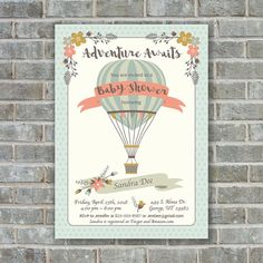 HOT AIR BALLOON Baby Shower invitation baby shower by PoppinsInk