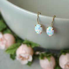 White Opal Earrings 14k Gold Earrings White Earrings Opal