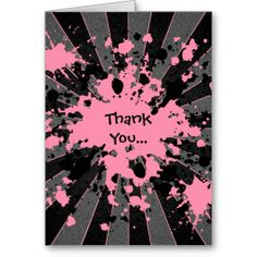 Funky pink paint splatter paintball thank you greeting card