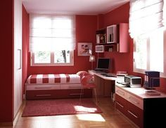 Furniture Small Bedroom Designs For Bedroom Interior Charming Red Rooms Color Themes With Chic Red Single Beds Two Drawers With Cool Bedroom Rugs Over Fake Wooden Floors In Smart Teen Small Bedroom Design Ideas Bedroom F Red Bedroom Design, Study Room Design, Bedroom Red, Small Room Bedroom, Bedroom Ideas, Modern Bedroom, Kids Bedroom, Bedroom Decor, Bedroom Storage
