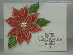 handmade embossed and watercolored Christmas card ... classic look ... gold heat embossed poinsettia in true red and green with clear jewels at the cent ... diagonal striped embossing folder ... beautiful card! ... Stampin' Up!