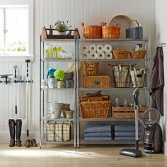 Our wire shelving is now available in a black or white finish for a greater range of design options. Originally produced for commercial kitchens, this exceptionally strong steel shelving brings sleek open storage to your home kitchen, pantry, lau… Utility Room Storage, Laundry Room Organization, Pantry Storage, Diy Storage, Kitchen Storage, Kitchen Pantry, Utility Shelves, Corner Pantry, Storage Room