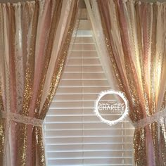 Pink & Gold Sparkle Sequin Garland Curtain with Lace - Nursery Decor, Curtain, Crib Garland, Window Treatment by ohMYcharley on Etsy https://www.etsy.com/listing/220397160/pink-gold-sparkle-sequin-garland-curtain