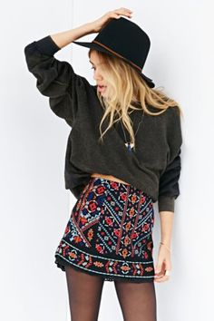 Ecote Nattie Embroidered Mini Skirt. LOVE THIS