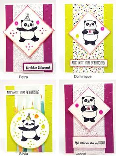 Workshop 01/2018 - Projekt 2 - Midi-Karte Party-Pandas Panda Party, Karten Diy, Kids Birthday Cards, Paper Pumpkin, Card Sketches, Stamping Up, Kids Cards, Stampin Up Cards, Cardmaking