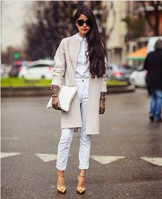 Break rules, wear an all white outfit in winter.