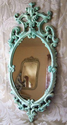 Shabby Aqua Beach Cottage Ornate Wall Mirror Medium Pastel Oval Hollywood…