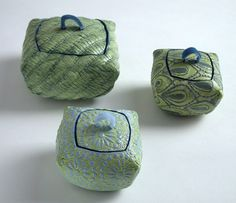 Ceramics by Diana Cox at Studiopottery.co.uk - Green boxes, produced in 2006.