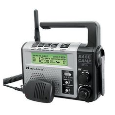 Midland - 22 Channel Emergency Crank Base Camp Radio - 5 Watt GMRS Two-Way Radio with 5 Power Options, 121 Privacy Codes, Flashlight & NOAA Weather Scan + Alert (Gray/Black) Best Ham Radio, Radio 2019, Handheld Ham Radio, Mobile Ham Radio, Birthday Survival Kit, Noaa Weather Radio, Emergency Radio