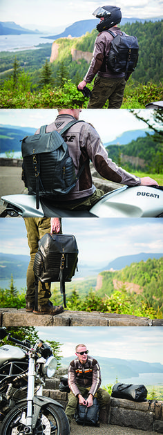 The Moto Collection isn't just for the ladies, it's a unisex collection full of high-quality upcycled Langlitz leather bags ideal for men's fashion and motogear. Here's images from when we product tested the ecobags on our friend's ducati at the Women's Forum along the Columbia River Gorge